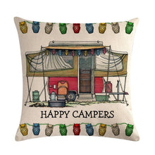 Load image into Gallery viewer, Throw linen decorative pillow case motor homes happy campers cushion cover