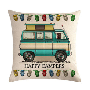 Throw linen decorative pillow case motor homes happy campers cushion cover
