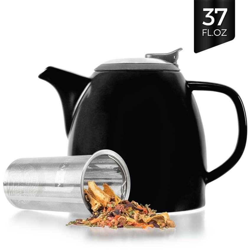 Drago Black Ceramic Teapot With Infuser 37oz - Swaye Tea