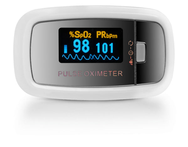 AccuMed CMS-50D1 Finger Pulse Oximeter Blood Oxygen SpO2 Sports and Aviation Monitor - White