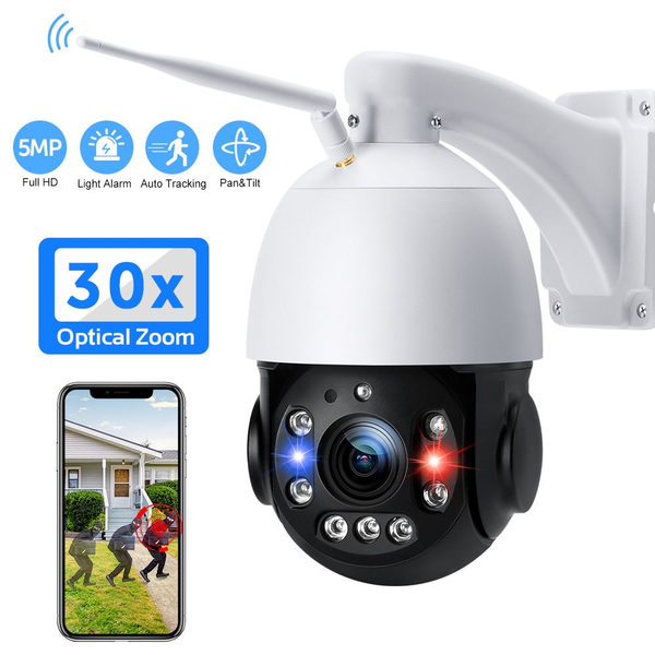 PTZ WiFi Security Camera Outdoor 5MP 30X Optical Zoom IP Camera Support 400ft Night Vision Auto Tracking Sound Light Alarm Human Detection 2-Way Audio ONVIF IP66 Waterproof