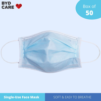 BYD Single Use Disposable Face Mask, Box of 50(Free shipping worldwide)