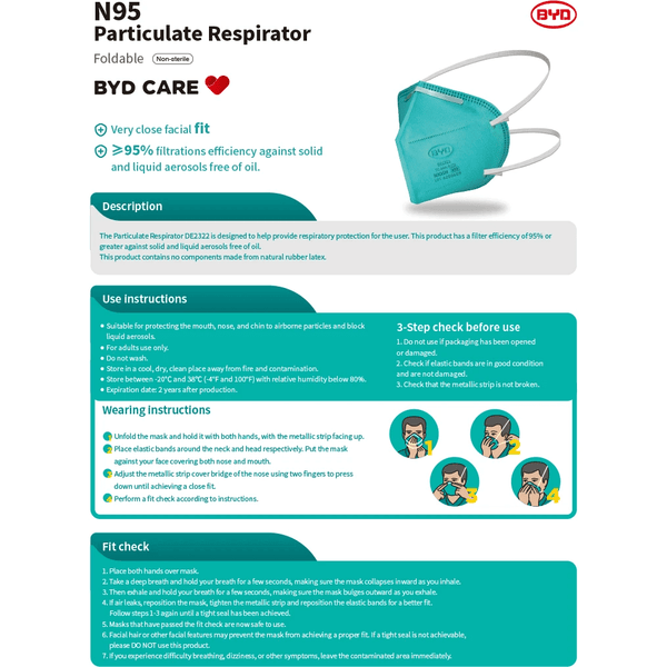 BYD N95 Particulate Respirator Mask FDA & NIOSH Certified DE2322 (Foldable) 20pcs/box Shipping Free Global