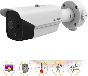 Hikvision DS-2TD2617B-6/PA 6mm 50 fps body temperature screening thermal imaging bullet camera indoor and outdoor thermal and optical network bullet surveillance camera, UL certification (white)