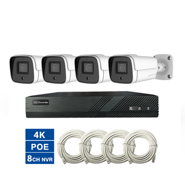 NVR-KIT-4CH-POE POE NVR+IP Camera Kit CCTV 4K 8MP NVR KIT POE System 4 Cameras Outdoor Bullet 20M Onvif H.265 P2P Cloud