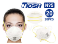UNIAIR 9550 N95 Face Masks (NIOSH Certified) 1 BOX ( 20PCS )