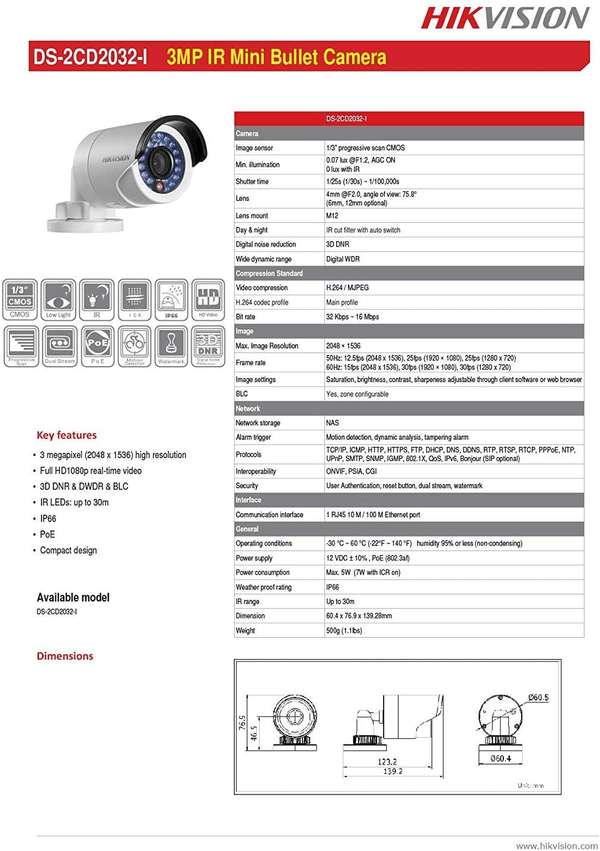 Hikvision DS-2CD2032-I CCTV POE 3MP 4mm IR Bullet IP Outdoor HD Security Network IP Camera