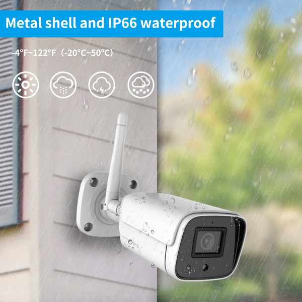 WiFi Security Camera Outdoor 1080P 2MP ONVIF Wireless IP Camera Smart Home Bullet Surveillance CCTV System with Night Vision IP66 Waterproof Two-Way Audio All Metal Housing Work with Alexa