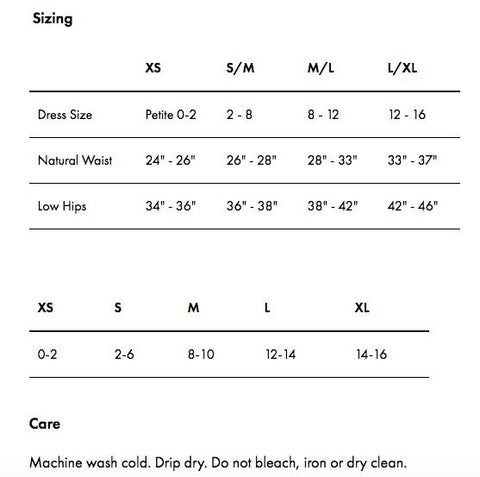 Commando panty sizing and care guide