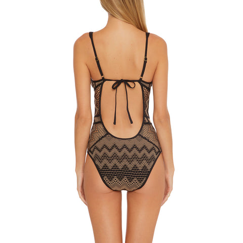 Becca Reveal One Piece Plunge Swimsuit 551017 Black/Tan