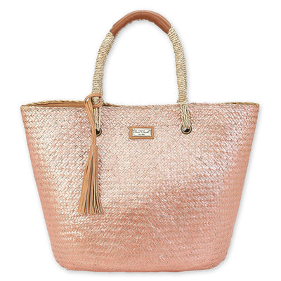 Sun 'N' Sand Shoulder Tote CE6316 Natural Straw in Rose Gold