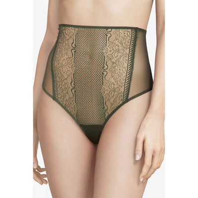 Chantal Thomass Edge High Waisted Thong T08C40 Dark Pine