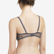 Chantelle Champs Elysées Lace Unlined Demi Bra 2605 Dark Charcoal