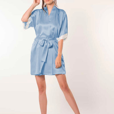 Christine Boudoir Short Robe BIJR4000 Water Blue