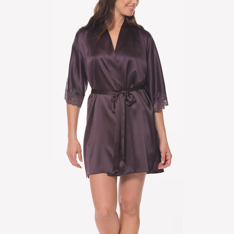 Christine Silk Robe MSS4904 Aubergin