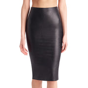 Commando Faux Leather Midi Skirt Sk06 Black