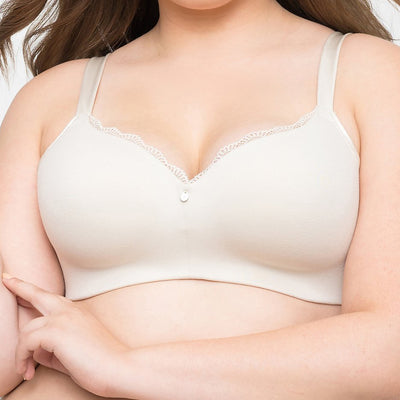Curvy Couture Cotton Luxe Padded Wire Free Bra 1266 Natural