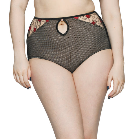 Scantilly by Curvy Kate Heart Throb High Waist Brief St1208 Black/Red