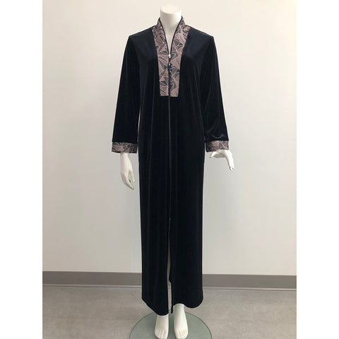 Diamond Tea Gown Zip-Front Stretch Velvet Caftan 254-0 Black