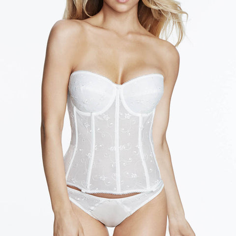 Dominique Rosemarie Embroidered Corset Bridal Bra 8900 Ivory