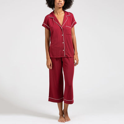 Eberjey Gisele Short Sleeve and Cropped Pant PJ Set PJ1018TSZC Sangria