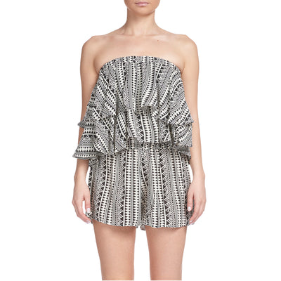 Elan Strapless Cover-Up Romper RGP715 Black/Natural