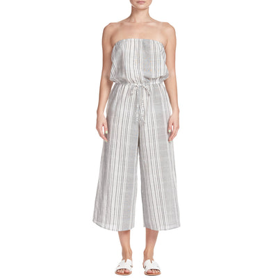 Elan Strapless Cover-Up Culotte Jumpsuit RGS7095 Black/White