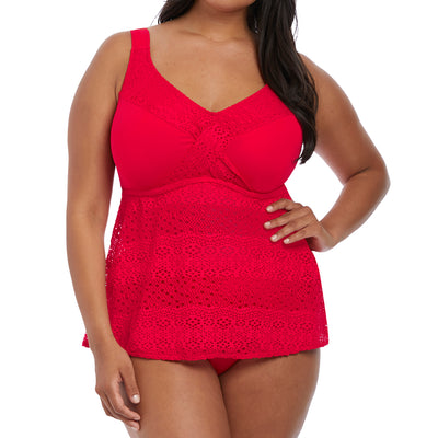 Elomi Indie Wire Free Twist Front Tankini Swim Top Es7535 Red
