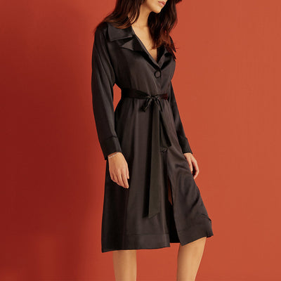 Else Giselle Silk Trench Robe EC-461R Black