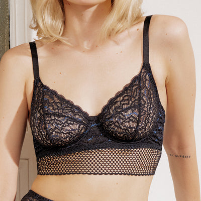 Else Arya Full Cup Underwire Longline Bra EC-388B Black/Peacock