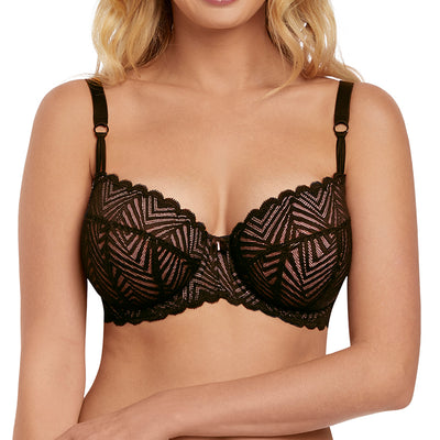 Freya Escape Lace Padded Half Cup Bra AA1861 Ebony