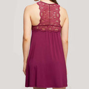 Fleur't Belle Epoque Lace T-Back Chemise 630 Royal Plum