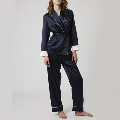 Ginia Double Breasted Silk Pajama Gd1505 Navy
