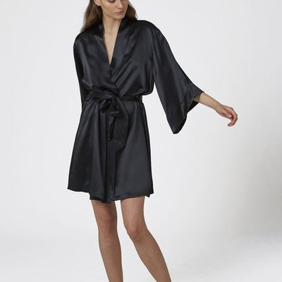 Ginia Silk Wrap Robe Gff603 Black