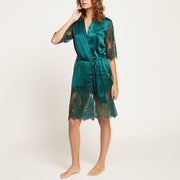 Ginia Blaise Silk Robe with Lace GML601 Emerald