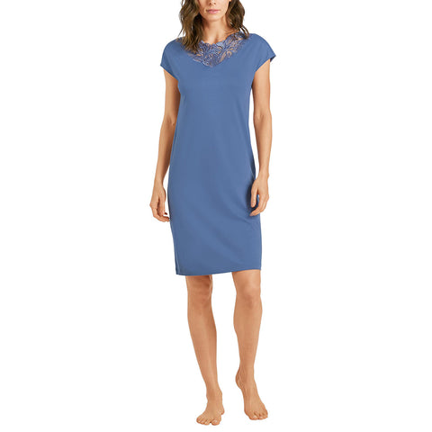 HANRO Madlen Short Sleeve Gown 07-6782 Blue Gown