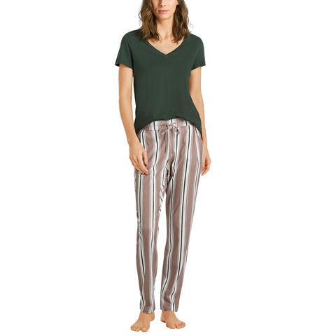 HANRO Sleep and Lounge Woven Long Pant 07-7617 Marble Stripe