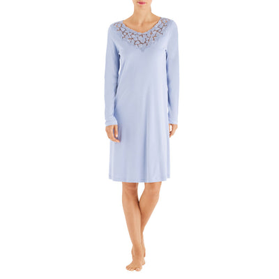 Hanro Aurelia Long Sleeve Gown 07-6513 Dream Blue