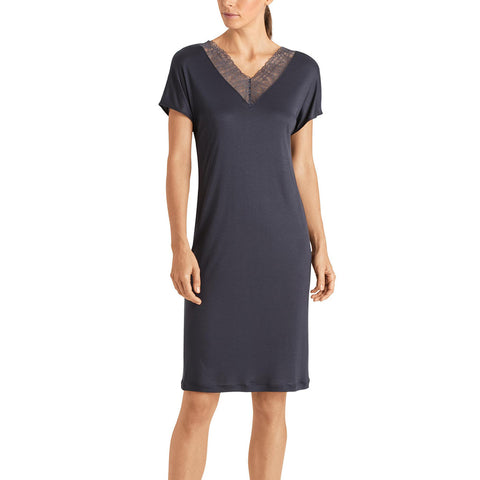 Hanro Imani Short Sleeve Gown 07-6732 Smokey Blue