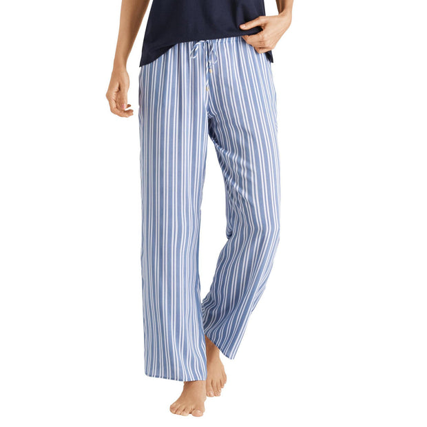 Hanro Sleep and Lounge Woven Long Pant 077617 Blue Stripe