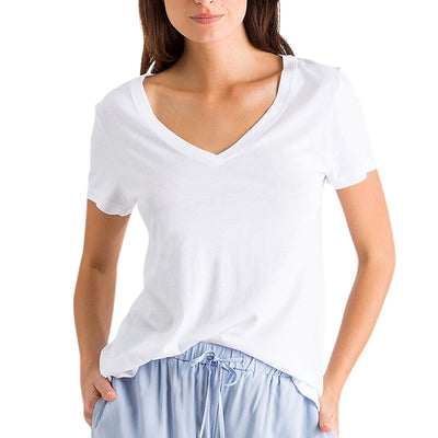 Hanro Sleep and Lounge Short Sleeve Shirt 07-7876 White Tee