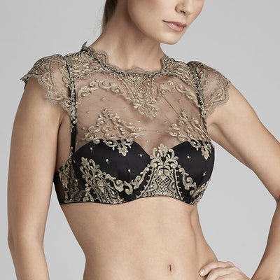 ID Sarrieri Le Désir High Neck Balconnet Bra L2277 Metallic Black