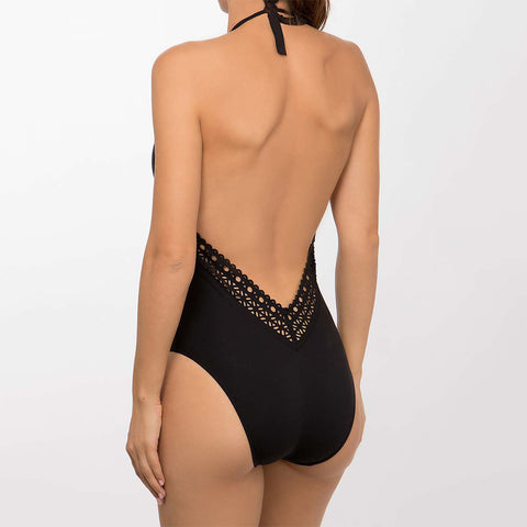 Lise Charmel Ajourage Couture Plunging Back & Front Swimsuit ABA9615 Black