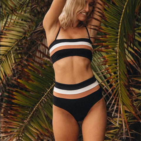 LSpace Rebel Stripe Bikini Top Cbrlt18 Black-Cream-Chestnut