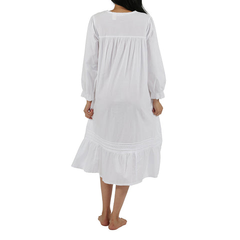 La Cera 100% Cotton Long Sleeve Robe 1250R White