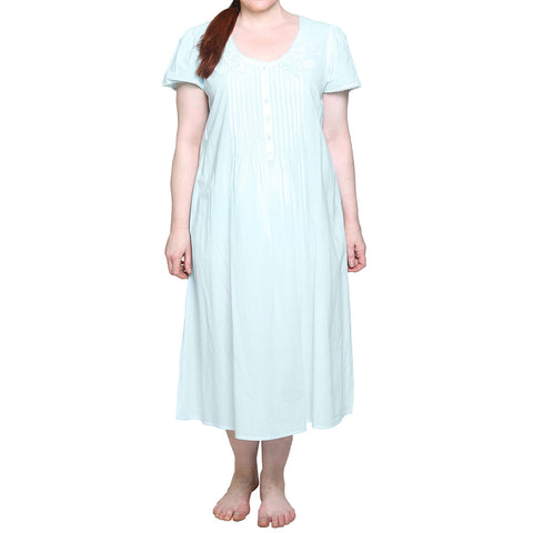 La Cera 100% Cotton Lace Applique Gown 1275 Mint