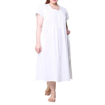 La Cera Plus Size 100% Cotton Lace Applique Gown 1275X White