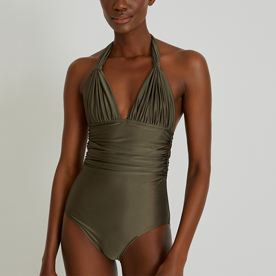 Lenny Niemeyer Adjustable Halter One Piece Swimsuit 246 Fog