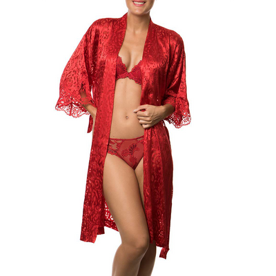 Lise Charmel Dressing Floral Housecoat Robe ALC2088 Rouge