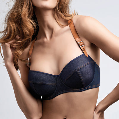 Marlies Dekkers Calamity Jane Plunge Balcony Bra 18-3941 Blue Denim